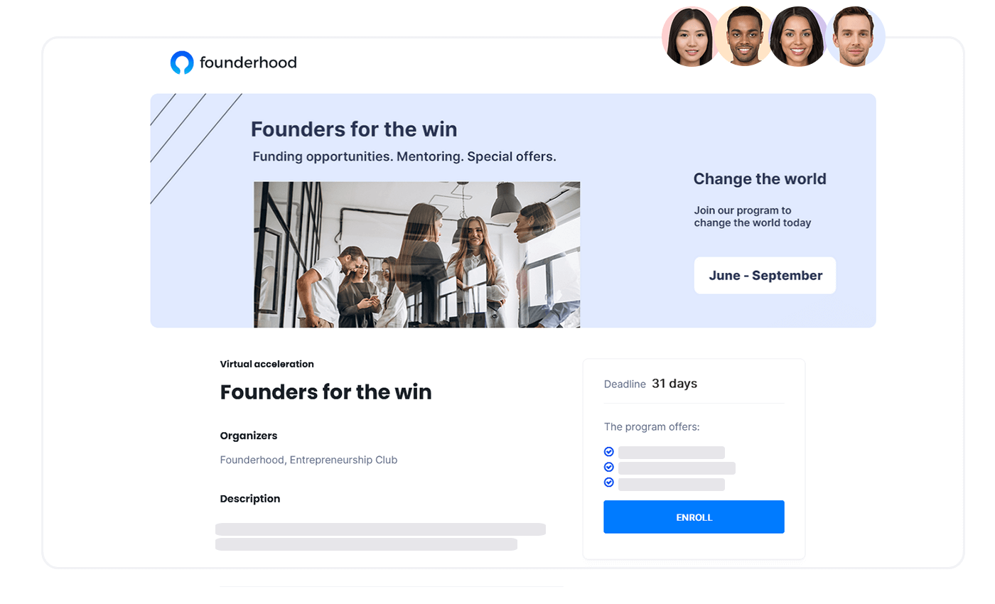 Page where startups sign-up for a program
